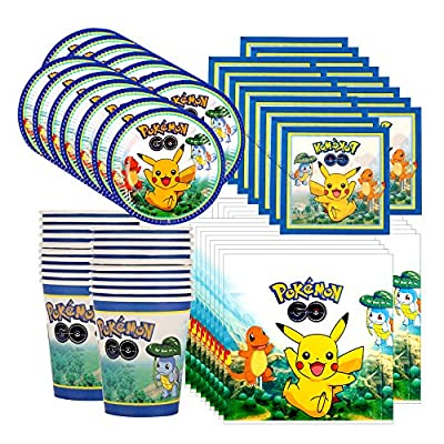 Pokemon Pikachu & Friends Birthday Party Tableware Pack for 16 by Balloons and Party de Balloons and Party