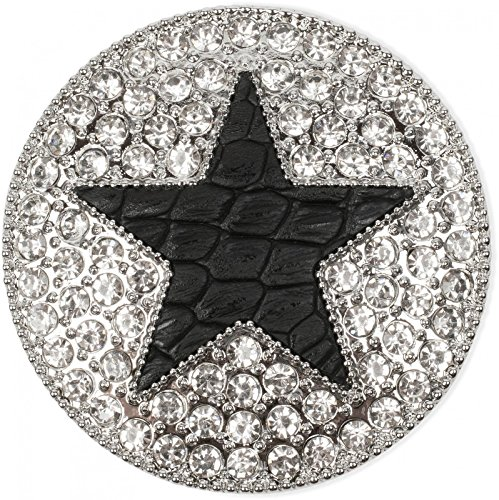 styleBREAKER runder Magnet Schmuck Anhänger für Schals, Tücher oder Ponchos, mit schwarzem Stern und Strass, Damen 05050030, Farbe:Silber/Schwarz
