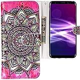 CLM-Tech kompatibel mit Samsung Galaxy S9 Hülle, Tasche aus Kunstleder, Blume Kreis rosa schwarz Mehrfarbig, PU Leder-Tasche für Galaxy S9 Lederhülle
