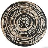 GHGMM Teppiche Vorleger,Handgewebter runder Juteteppich Original-Design Wohnzimmer Couchtisch Sofa Schlafzimmer Bettmatte,Black,120 * 120CM