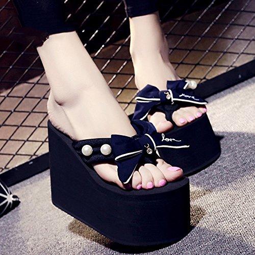 Estate Sandali Pantofole high-heeled di estate femminili 12cm (azzurro / nero / grigio / rosa) Colore / formato facoltativo Blu