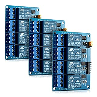 kwmobile 4 Channel Relay Module - 5V Relay Board for Arduino Raspberry Pi with Optocoupler - Pack of 3