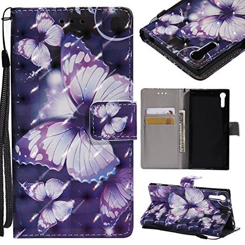 Lomogo Sony Xperia XZ/XZs Hülle Leder, Schutzhülle Brieftasche mit Kartenfach Klappbar Magnetverschluss Stoßfest Kratzfest Handyhülle Case für Sony Xperia XZ/XZs - KATU25999#4