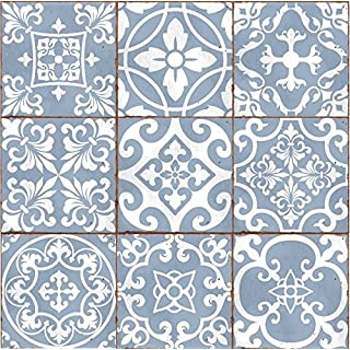 LPS Pack of 9 Mixed blue Victorian Moroccan retro traditional aged style Mosaic style tile transfers stickers bathroom kitchen stick on wall tile peel and stick size 6X6 Trendy retro
