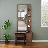 @home by Nilkamal Gleam Engineered Wood Dresser With Mirror & Stool in Wenge Finish