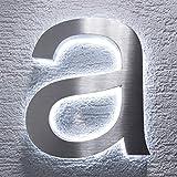 Metzler-Trade, numero civico in acciaio inox V2A, con illuminazione indiretta in 3D a LED bianco, inossidabile, classico, a prova di spruzzi d'acqua, Argento 2.00W, 12.00V