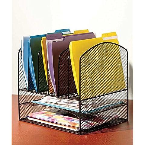 Vanra Malla Metálica Escritorio Organizador de archivos Organizador de archivos 6Bandeja de Archivo Organizar con 2bandejas de carta y escritorio vertical carpeta Soporte secciones,