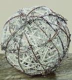 15cm Weidenkugel weiß Weihnachten Schneekugel Dekoration Tischdeko Kugel Weide Glitzer Schnee