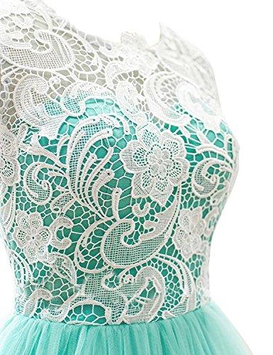 KekeHouse®Courte Robe de Soirée Bal Cérémonie Fille Enfant Femme Mariage Fête En A Bleu Royal