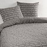 Aminata – Bettwäsche 135x200 cm Baumwolle + Reißverschluss zum Wenden Schrift Liebe love Wendebettwäsche Braun Beige Weiß Schriftzug Gedicht Bettwäscheset Ganzjahres Bettbezug Normalbettgröße