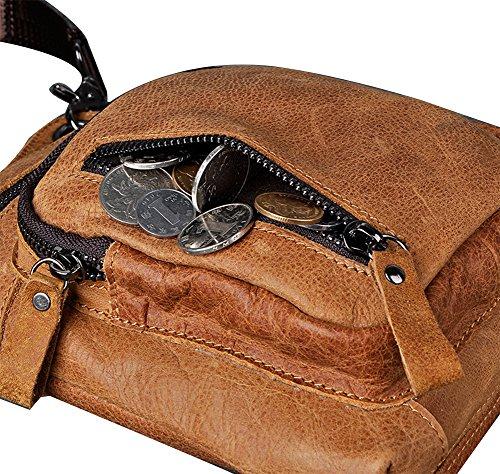 Genda 2Archer Sling Crossbody Tasche Leder Taille Beintasche (Schwarz) Braun