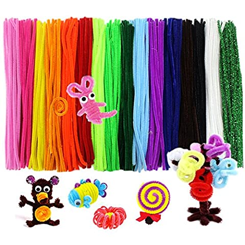 JUSLIN 340 Pcs Pipe Cleaners Chenille Stem 6 mm x 12 Inch, 17 Assorted Colors
