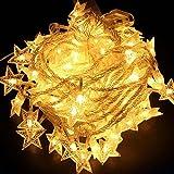 40 LED Lichterkette Sterne, Cuitan mit Fernbedienung 5M Warmweiß Dimmbar String Lights Batteriebetrieben Gartenlicht Fairy Lights Schnur Lichter für Weihnachten, Party, Garten, Hochzeit, Baum, Terrasse, Fest Deko - Warmweiß