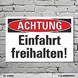 Schild Achtung Einfahrt freihalten Hinweisschild Parkverbot 3 mm Alu-Verbund 300 x 200 mm