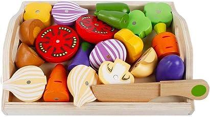 Küchenspielzeug Holz Gemüse mit Magnet, 24x19cm, 22-tlg., Gemüse aus Holz Obst Gemüse Spielzeug Lebensmittel Küche Kinderküche ädagogisches Lernen Spielzeug, Rollenspiel Lernspielzeug für Kinder