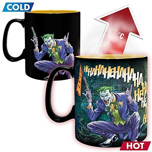 Keramik Thermoeffekt Tasse Riesentasse 460 ml - Batman & Joker - Geschenkbox (Arkham Knight Harley Quinn Kostüme)