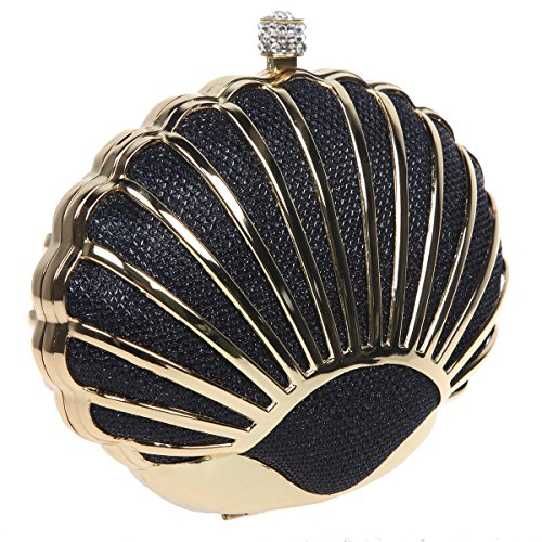 Bonjanvye Mini Lovely Seashell Purses for Girls Clutch Handbags for Wedding Evening Party Champagne Black