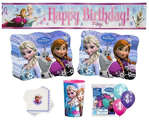 Deluxe Frozen Party Supplies- Happy Birthday Banner, Anna & Elsa Balloons, Napkins, Place Mats and Birthday Girl Cup by Disney's Frozen