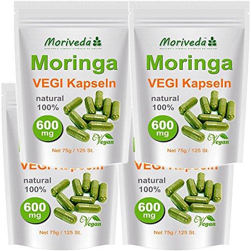 Moringa 500 Oleifera Vegi Capsule alto dosaggio 600mg - 100% cibi crudi Vegan (4x125)