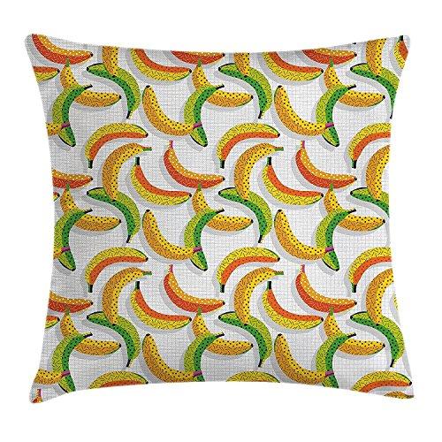 DCOCY Vintage Überwurf, 80er Retro Fruit Fashion Banana Muster Kissenbezug, Funky Hipster Illustration, dekorative quadratisch Accent Kissen Fall, 45,7x 45,7cm, gelb orange und Lime Grün