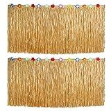 Tinksky 2 piezas falda de mesa de fiesta hawaiana falda de escritorio de plástico para decoración de fiesta Luau 276x75cm (color de paja)