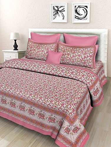 Fashion Dziner 100% Cotton Floral Print Double Bed Sheet with 2 Pillow Zipper Covers Multicolor