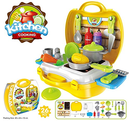 Ultimate Kid Chef\'s Bring Along Kitchen Cooking New Yellow Suitcase Set