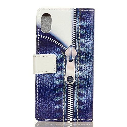 Cover Per iPhone X, Sunrive Custodia con supporto di stand e in pelle artificiale per carte di credito Portafoglio Flip Chiusura Magnetica Protettiva(W pattern 1) W cerniera