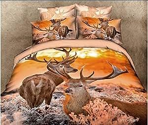 Crépuscule Marron Lot de 5 draps pour lit de cerf 3d bag Parure de lit-Doudou lit de feuilles avec housse de couette Motif queen elle est d'une couleur Par lot/pc