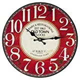 Perla pd Design Reloj de pared, de cocina, diseño vintage, diámetro aprox. 28 cm, madera, Old Town