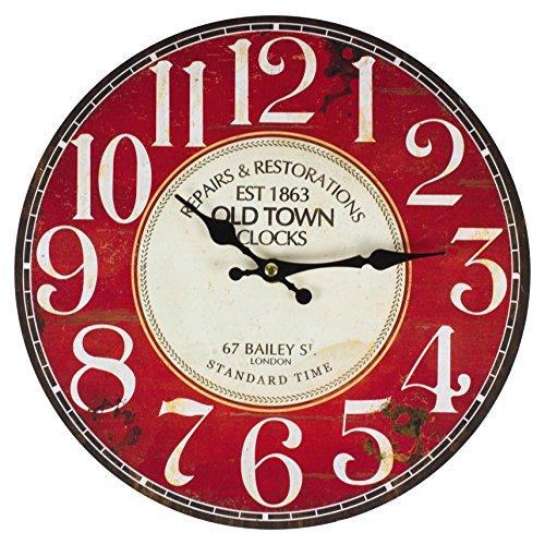 Recibirás un reloj de pared de alta calidad con diseño vintage. El reloj de pared tiene un diámetro de aproximadamente 28 cm y se compone de material DM (tablero de fibra de madera de densidad media). El reloj tiene un mecanismo de cuarzo preciso con...