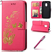 MOTO G4 Play Coque Housse Etui,MOTO G4 Play Case Souple Gel,Hpory élégant Vintage Bronzing Papillon Motif With Lanyard Strap PU Cuir Case BookStyle Folio Support PU Leather Wallet Case with Magnetic Closure and Stand Function and Credit Card Holder Multifonction de Shell en Soft Silicone Bumber Protector Étui Anti Poussière Resistance Anti-rayures et Shockproof Couverture Etui Coquille pour MOTO G4 Play + 1 x Hpory Stylus-(Rouge Rose)
