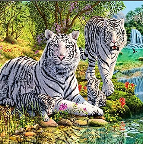 YEESAM ART New 5D Diamond Painting Kit - Two White Tigers 30*30 - DIY Crystals Diamond Rhinestone Painting Pasted Paint by Number Kits Cross Stitch Embroidery
