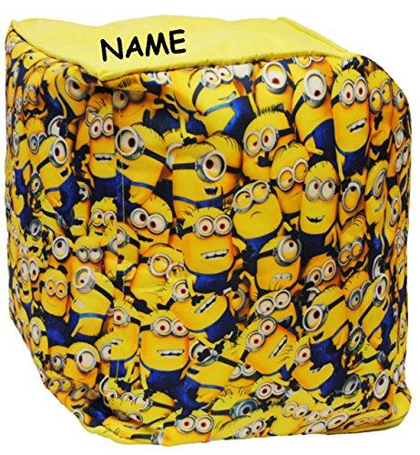 """Sitzsack / Hocker - """" Minions - Ich einfach unverbesserlich """" - incl. Name - wasserfest - Kissen - Sitzkissen - Polsterhocker - kleines Sofa - Sessel / Kinderstuhl - Gelb - Kindermöbel für Mädchen & Jungen - Garten - Outdoor & Innen - Couch / Stoff - Stuhl Stühle / Kinderzimmer - Minion / Mark Dave Stuart Bob Kevin - Despicable Me - Kinder / Sofa - Sack - Sitzsäcke / Kindermöbel"""