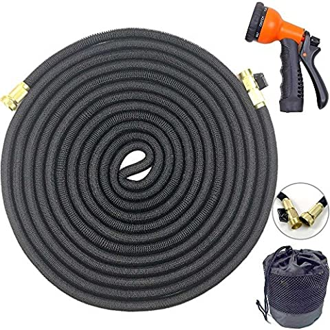 Garden Hose 100 FT Newest Expandable Strongest Magic Hose Pipe with Solid Brass Fittings Never Tangles NO Kinks 8 Pattern Nozzle Spray Gun And Universal Connector(Black)