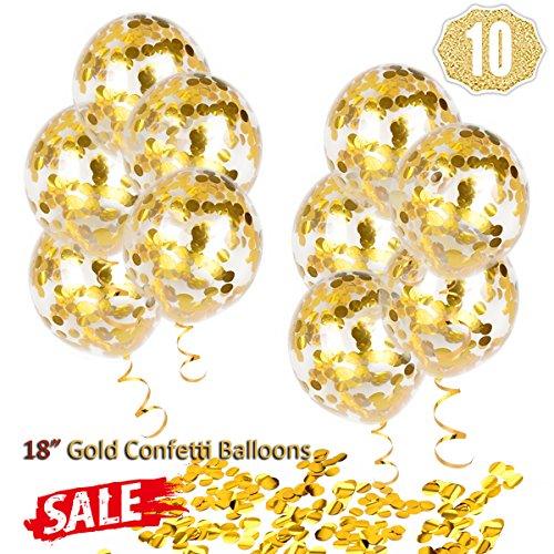 Hoshin Globos de Confeti Dorados, Globos Grandes de Fiesta de 18 '(45,7 cm) Globos Dorados Transparentes de látex para Bodas, propuesta, Decoraciones de Fiesta de cumpleaños (Paquete de 10)
