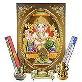 Altar Set GANESHA mit Bild, Räucherstäbchenhalter, Teelichthalter, Messingfigur und Räucherstäbchen Dekoration Hinduismus Indien Gottheit