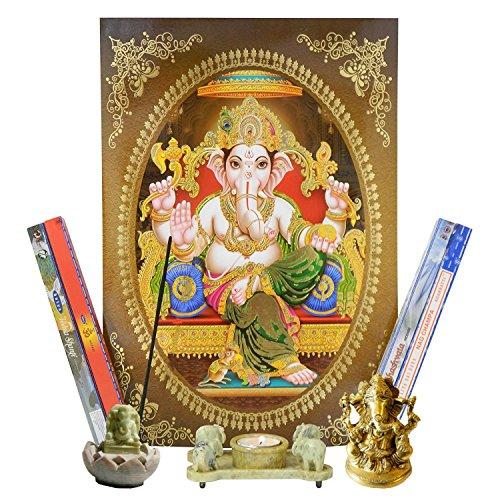 Altar Set Ganesha mit Bild, Räucherstäbchenhalter, Teelichthalter, Messingfigur und Räucherstäbchen Dekoration Hinduismus Indien Gottheit - Ganesha-bild