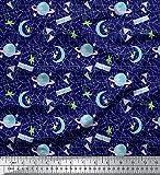 Soimoi Blau Moos Georgette Stoff Mond & Sterne Galaxis