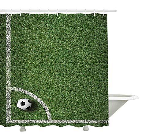GWFVA Sport-Duschvorhang, Fußball-Eckstoß-Positions-Fußballplatz-Draufsicht-Gras-Rasen-Gelände, Gewebe-Badezimmer-Dekor-Satz mit Haken, grünes weißes Schwarzes (Gras-gelände)