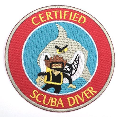 Zertifiziert Scuba Diver Patch 9cm Embroidered Iron on Badge Tauchen Aufnäher Shark Kostüm Cosplay DIY Tasche Rucksack T-Shirt Jacke Gepäck