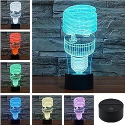 E27 Spiral Light Bulbs Pattern Creativa 3D Visual Acrílico Táctil Lámpara de Mesa Colorido Arte decoración USB LED Luces de Escritorio 3D-TD124
