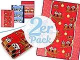 Doppelpack zum Vorteilspreis - weihnachtliche Microfaser-Kuscheldecken - wärmend-weiche Wohndekoration in winterlichem Design in der Größe 150 x 200 cm, Eulen - Weihnachtsbaum