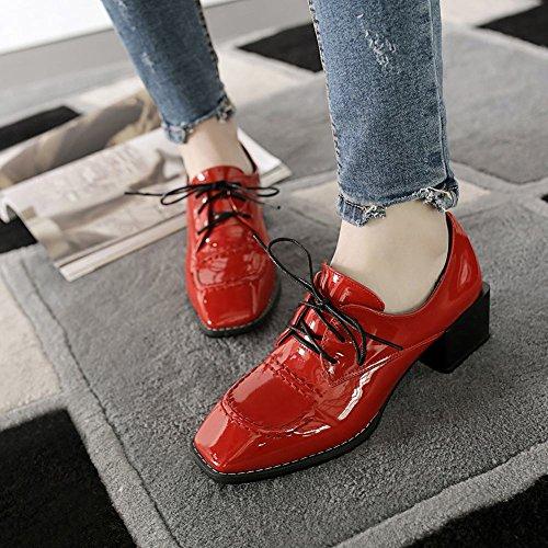 Chaussures Femme Misssasa Avec Un Talon Moyen Et Une Mode Rouge