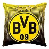 BVB Kissen mit Emblem, Polyester, Schwarz / Gelb, 40 x 40 x 5 cm