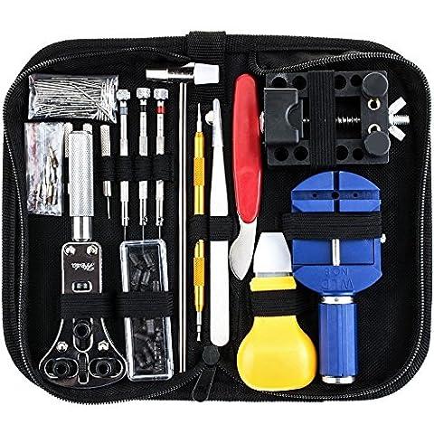 Sopoby Uhrenwerkzeug Set 147tlg Uhrmacherwerkzeug Uhr Werkzeug Tasche Reparatur Set