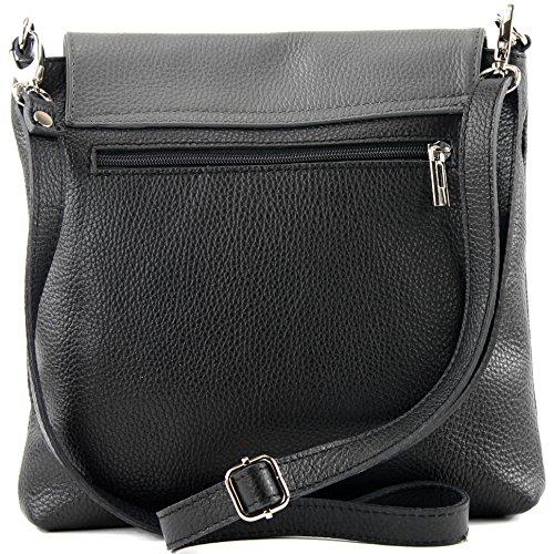 modamoda de -. cuoio ital Borsa da donna Messenger bag borsa a tracolla in pelle borsa NT07 2in1 Schwarz/Dunkelgrau