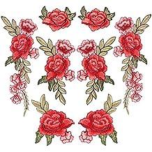 8 Piezas de Parches de Bordado Parches de Flor de Coser Parches de Rosa para Vaqueros