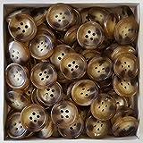 Knopfparadies - 50 günstige klassische Vierloch Kunststoff Knöpfe in Horn Optik / beige, transparent, naturweiß meliert / Kunststoffknöpfe / Ø ca. 20mm