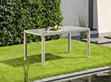greemotion Tisch Manila grau bicolor, Gartentisch mit Glasplatte, gastronomiegeeignet, Balkontisch mit Höhenverstellbaren Füßen, witterungsbeständiges Polyethylengeflecht, besonders pflegeleicht, Maße: ca. 140 x 80 x 74 cm